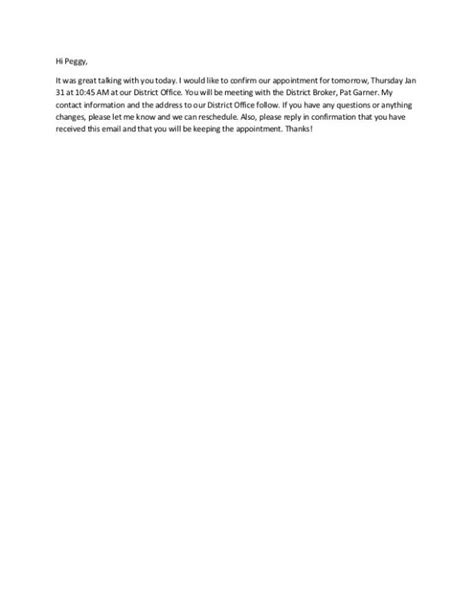 interview confirmation email confirmation email template business