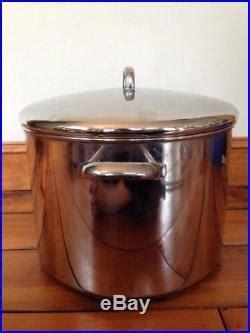 vtg revere ware  qt quart usa  copper clad stainless steel stock pot lid stock pot
