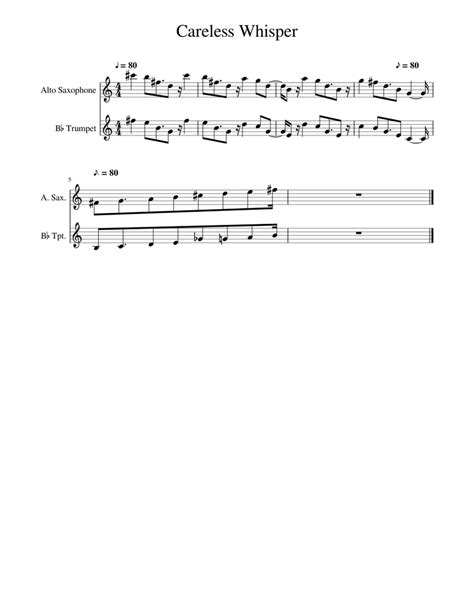 Related sheet music you may also like. Careless Whisper Sheet music for Alto Saxophone, Trumpet ...