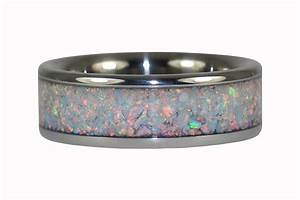 Black Fire Opal Ring Band for Men and Women