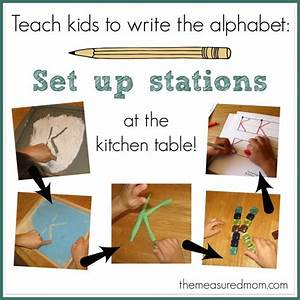 Teach kids to write the alphabet set up stations at the for Teaching toddlers to write letters