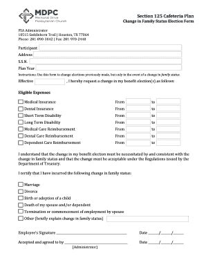 section 125 cafeteria plan section 125 plan document template edit print