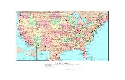 Map States United Usa Road Printable Detailed