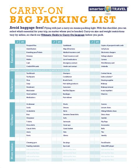travel packing list template travel packing list 10 free word pdf psd documents free premium templates