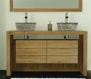 meuble salle de bain double vasque bois carrelage salle With meuble double vasque pour salle de bain