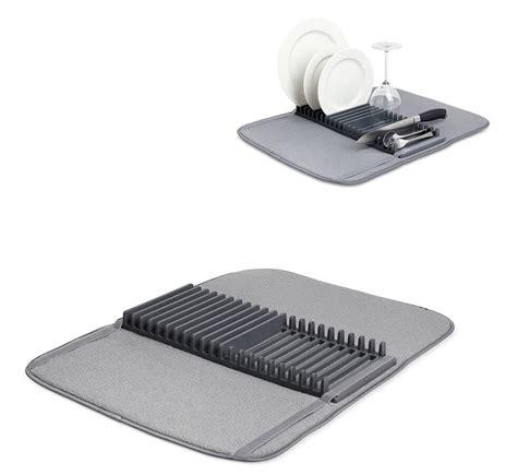 egouttoir cuisine tapis égouttoir à vaisselle pliable avec support gris