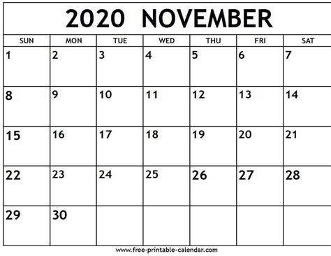 november  calendar  printable calendarcom