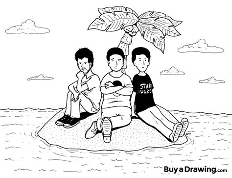 three friends stranded on an island drawing