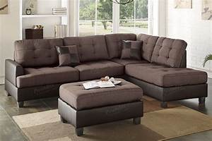 chocolate polyfiber two tone sectional couch sofa with ottoman With chocolate sectional sofa with ottoman