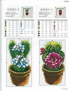 Punto croce Schemi Gratis e Tutorial: Schema punto croce vasetti con piante grasse e cactus