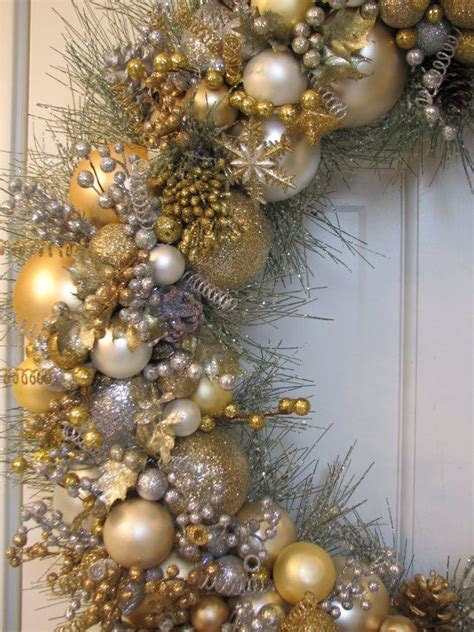 extra large silver and gold heirloom christmas wreath