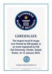 full sail university officially sets world record With world record certificate template
