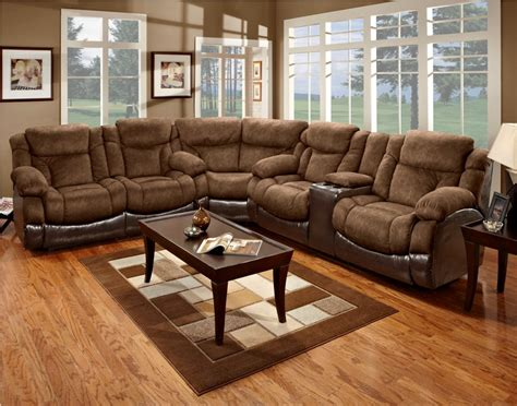 Dark Brown Microfiber Sectional Sofa With Recliner And
