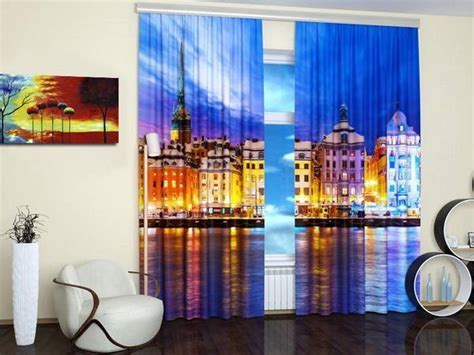 Modern Window Treatments with Art Prints Enhancing Travel