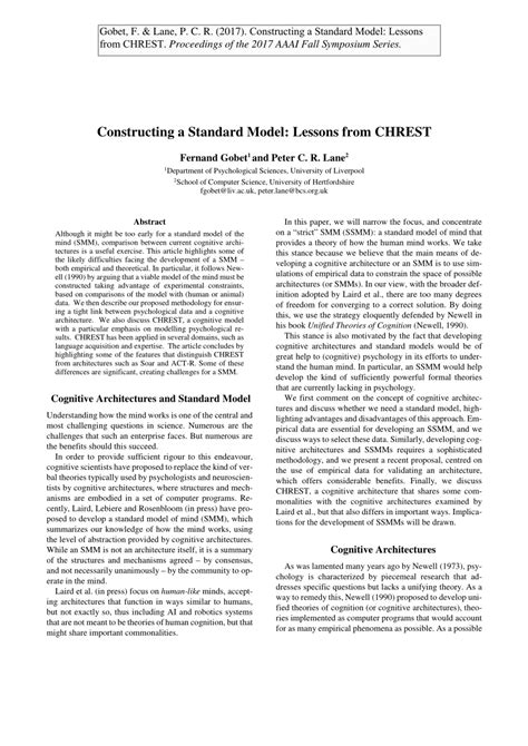 (PDF) Constructing a Standard Model: Lessons from CHREST