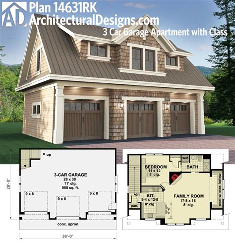 garage house floor plans plan 14631rk 3 car garage apartment with class carriage