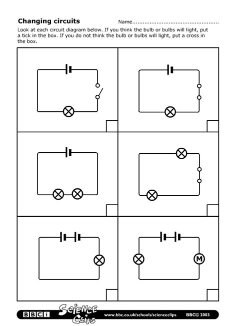 electric circuits worksheet schools science changing circuits worksheet
