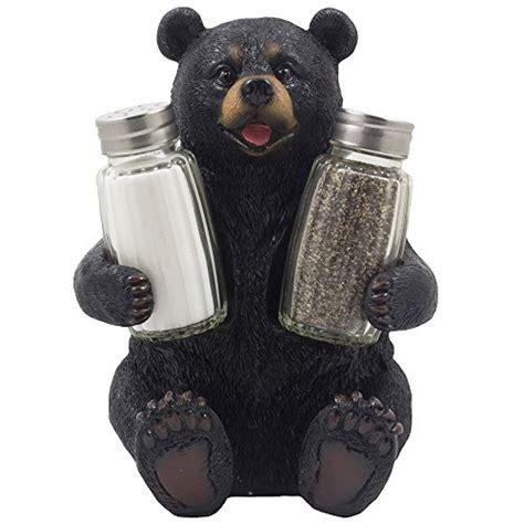home interior bears decorative black bear glass salt and pepper shaker set with holder figurine sculpture for rustic