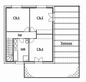 plan maison 90m2 maison r1 100m plan maison 90m2 4 With plan de maison avec 2 chambres a l tage