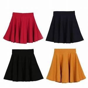 Women High Waist Short Plain Flared Pleated Sheer Skater Fippy Mini Skirts Black