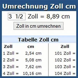 42zoll In Cm : umrechnung zoll cm online rechner und tabelle ~ Markanthonyermac.com Haus und Dekorationen