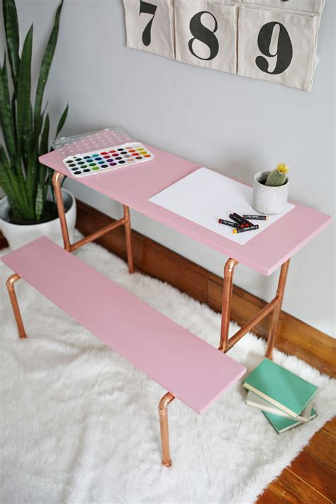 copper pipe childs desk diy  beautiful mess