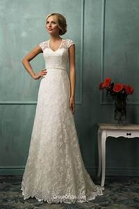 amazing a line cap sleeves floor length long tail lace With floor length wedding dresses