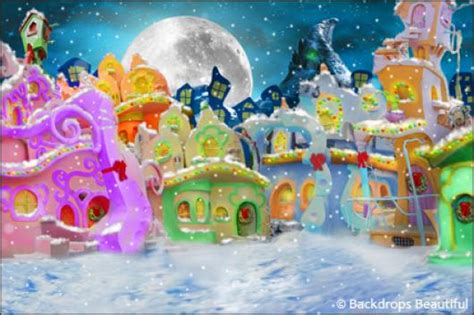 Whoville Grinch Backdrop by Backdrops Beautiful Painted Scenic Backdrop Rentals