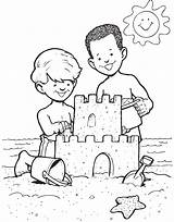 Coloring Castle Sandcastle Sheets Preschool Drawing Sand Disney Printable Sabbia Children Craft Estate Castello sketch template
