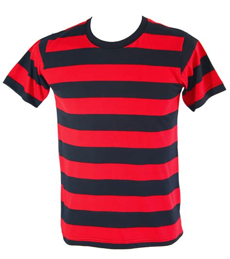 Mens Striped TShirt Short Sleeve Black and Red striped
