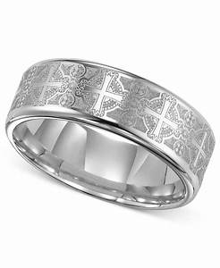 triton men39s tungsten carbide ring comfort fit etched With cross wedding ring