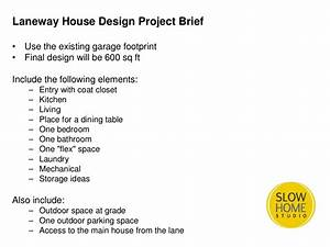 laneway house design project day 1 slow home studio With house design brief template for architect