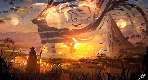 fantasy art, Sunset, Digital art, Magic, Mountains ...