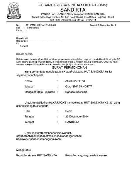 Contoh Format Surat Untuk Meminta Sponsor by Surat Permohonan Juri Lomba