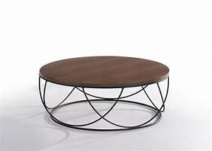 modrest strang modern walnut black round coffee table With designer round coffee tables