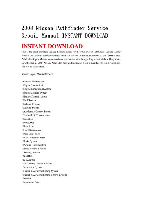 free download parts manuals 1997 nissan pathfinder parking system 2008 nissan pathfinder service repair manual instant download by jjshenfjmesmn issuu