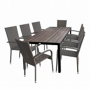Polywood Gartenmöbel Set : 9tlg gartengarnitur gartentisch mit polywood tischplatte 205x90cm 8x stapelbare gartenst hle ~ Markanthonyermac.com Haus und Dekorationen