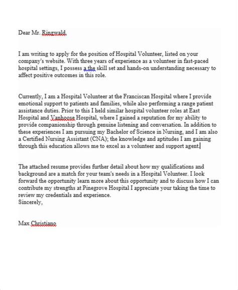 volunteer application letter sle volunteer cover letter