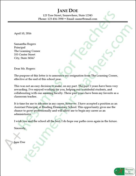 teacher resignation letter bravebtr