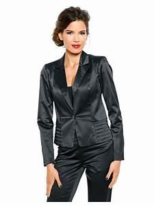 Blazer Femme Noir : blazer femme blanc en satin coupe courte helline ~ Preciouscoupons.com Idées de Décoration