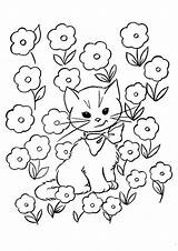 Kitten Coloring Bed Flower sketch template