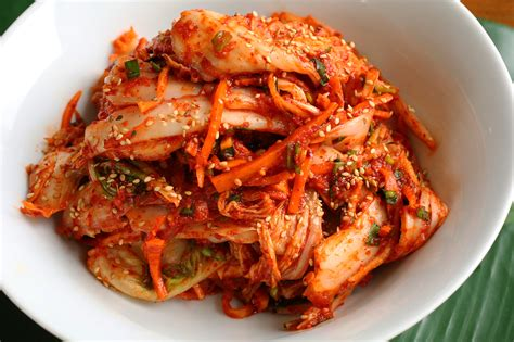 what cuisine food photo fresh kimchi with barley rice for my