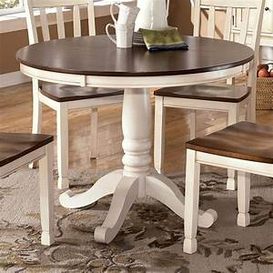 Two-Tone Round Table with Pedestal Base by Signature