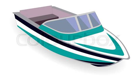 Motor Boat Cartoon Images by Cartoon Motor Boat Isolated On White Vector Illustration