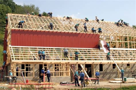 Amish Barn by Amish Community Comes Together For Barn Raising Near