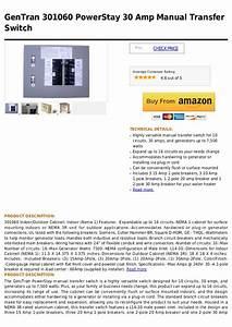 Gen Tran 301060 Powerstay 30 Amp Manual Transfer Switch