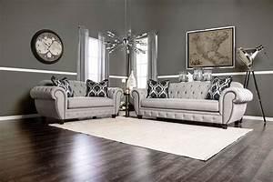 Viviana, Gray, Tufted, Sofa, Sm2291-sf, Made, In, Usa