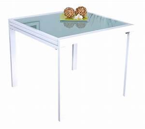 Table Carrée Blanche : table carr e extensible blanche laqu e 90 180 cm ~ Teatrodelosmanantiales.com Idées de Décoration