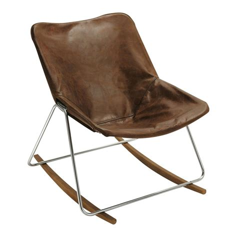 leather rocking chair in brown g1 maisons du monde