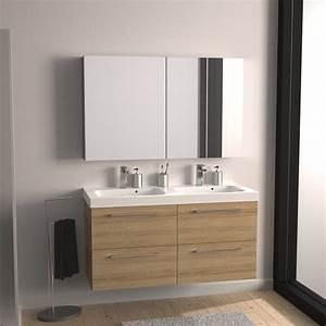 Meuble de salle de bains remix imitation chene 121x485 for Meuble salle de bain remix leroy merlin